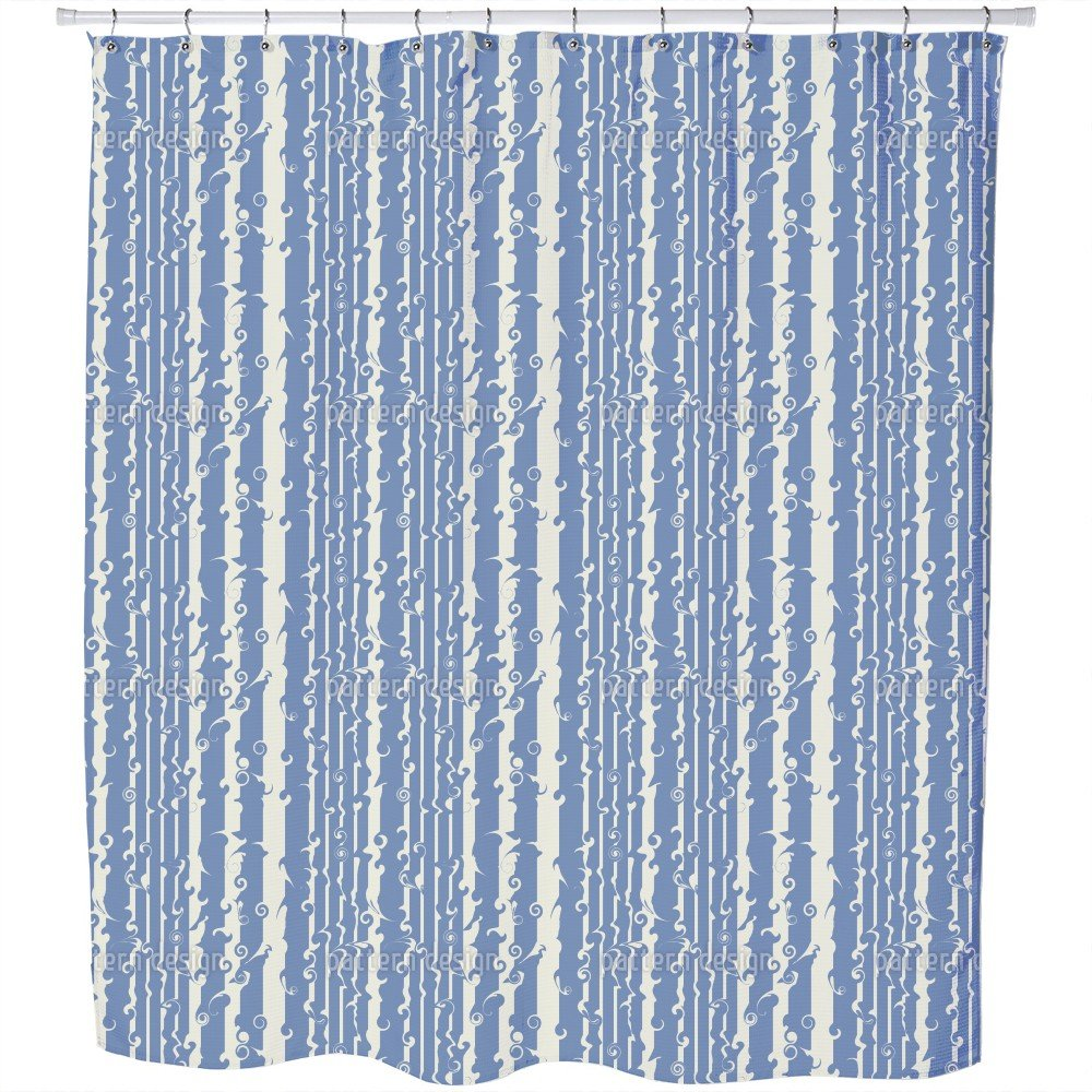Wavy Games In Blue Shower Curtain: Large Waterproof Luxurious Bathroom Design Woven Fabric