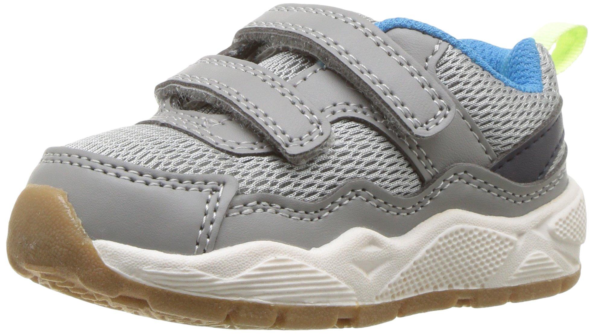 Carter's Boys' Skool Double Strap Sneaker, Grey, 11 M US Little Kid