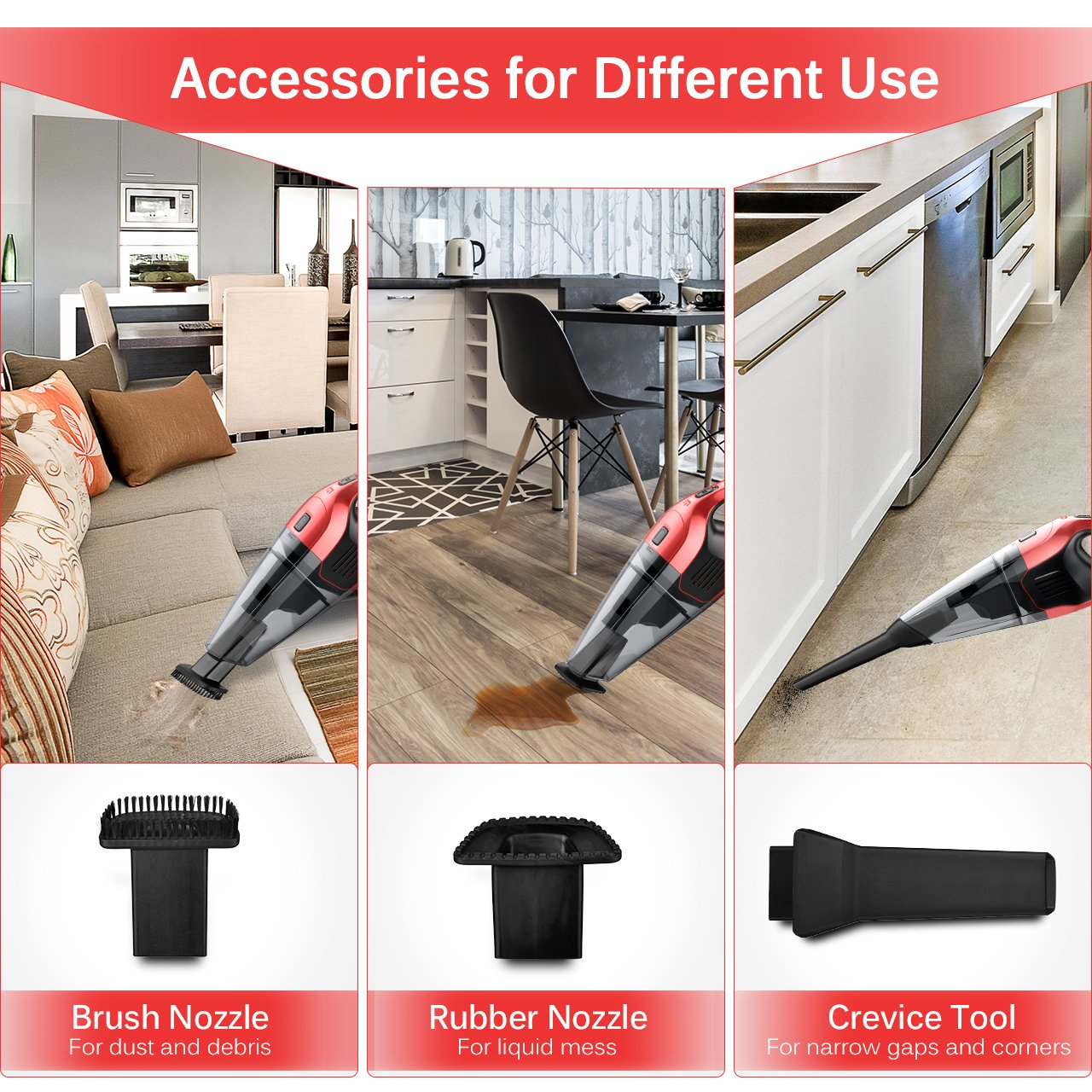 HoLife Handheld Vacuum 14.8V Hand Cordless Portable Pet Hair Home and Car Cleaning, min, Red by HoLife (Image #3)