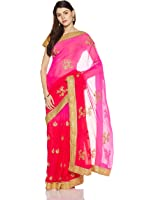 Panchratna Women's Embroidered Georgette Saree With Blouse Piece