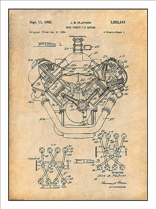 Amazon.com: Studio 21 Graphix 1954 Chrysler 426 Hemi V8 Engine Patent Print  Art Poster UNFRAMED Parchment 18