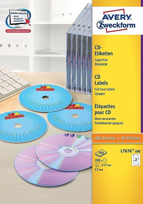 8 opinioni per Avery L7676-100 Etichette Full-Face CD