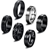 THUNARAZ 6 Pieces Black Spinner Rings for Men Women Cool Chain Inlaid Stainless Steel Fidget Rings for Anxiety 8mm Wide Stres