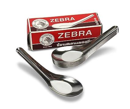 Thai acero inoxidable cuchara, Zebra marca, 12 unidades, estilo chino sopa cuchara