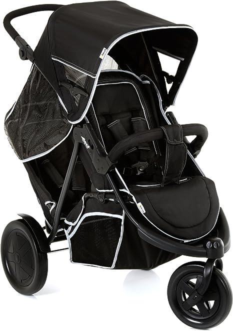 Opinión sobre Hauck Freerider Silla de paseo gemelar para 1 o 2 niños de diferentes edades, asientos desmontables, tandem, de 0 meses (acoplando capazo blando) hasta 2 x 15 kg, dos protectores de lluvia, negro