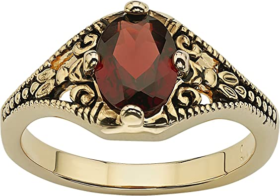 14K Gold Plated Antiqued Oval Cut Genuine Red Garnet Vintage Style Ring