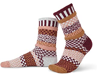 product image for Solmate Socks - Mismatched Crew Socks; Made in USA; Amaranth Small