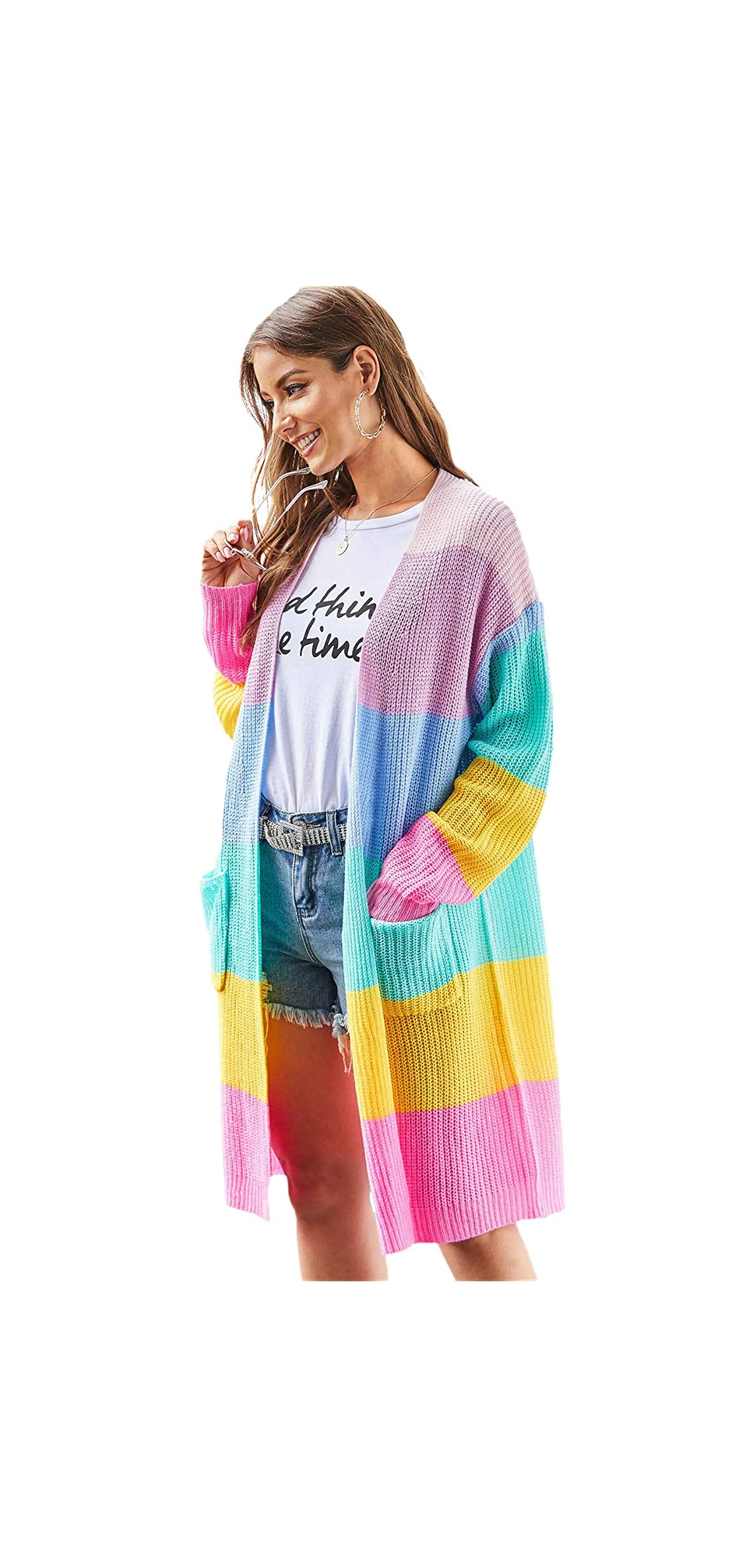 Women's Open Front Rainbow Striped Colorblock Knit Loose
