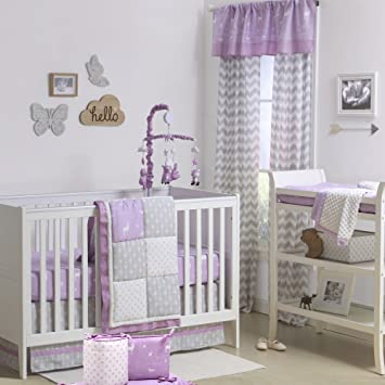 Purple And Grey Woodland Geometric 5 Piece Crib Bedding By The Peanut Shell