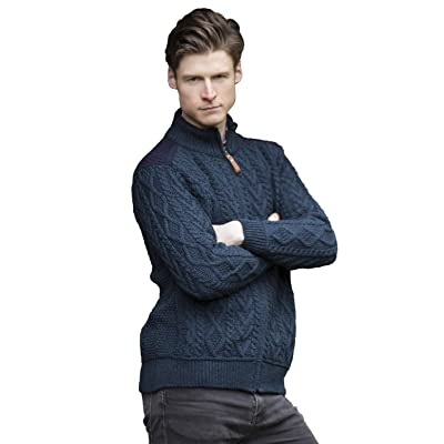Aran Crafts Men's Cable Knit Shoulder Detail Zipped Cardigan (100% Merino Wool) at Amazon Men's Clothing store