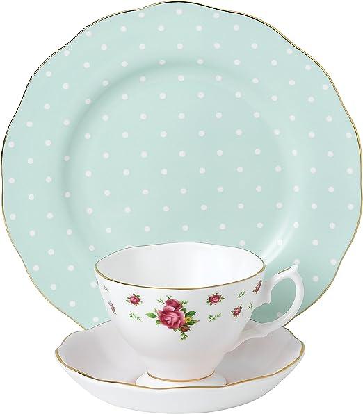Royal Albert Polka Blue 3-Piece Set Saucer /& Plate Teacup