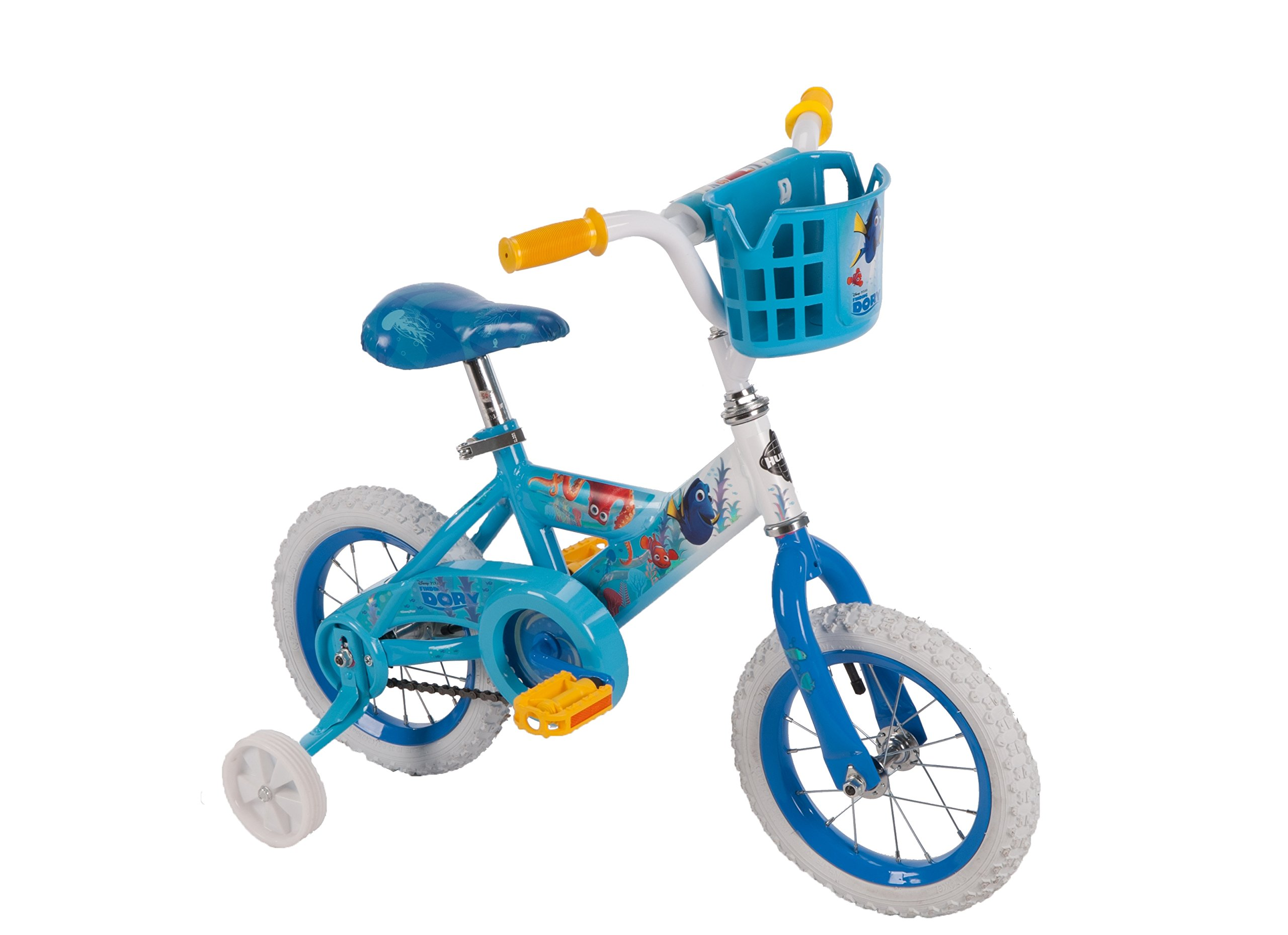 Huffy 12'' Disney Pixar Finding Dory Bike with Training Wheels & Basket, Blue