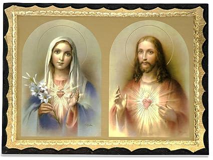 Amazon.com: Italian Deluxe Sacred Heart of Jesus and Mary Wall ...