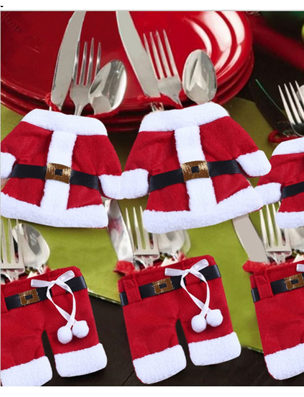 2x Bestecktasche Besteckbeutel Besteckhalter Weihnachten Serviettentasche