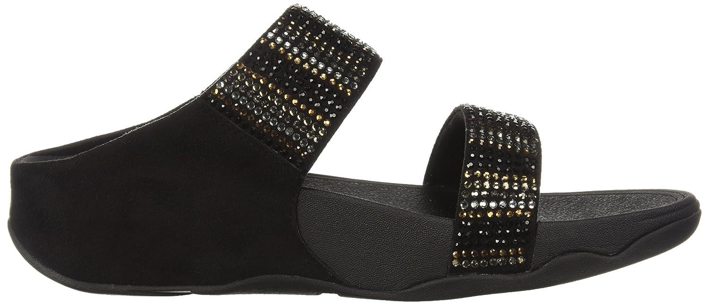 FitFlop Women's Flare 6 Strobe Slide Sandal B0799C431K 6 Flare B(M) US Black bda970
