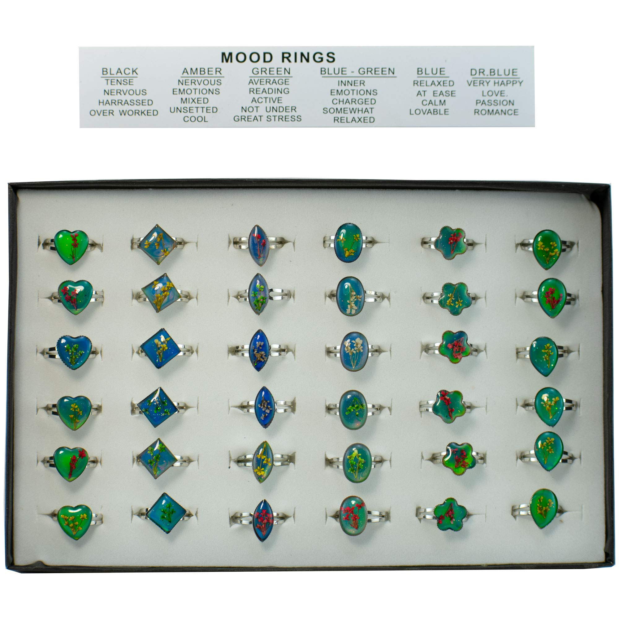 Kids Mood Ring Assortment - (36) Pieces - Assorted Styles - for Girls, Boys, Party Favors, Pinata Fillers, Gift Bags, Carnival Prizes, School Incentives