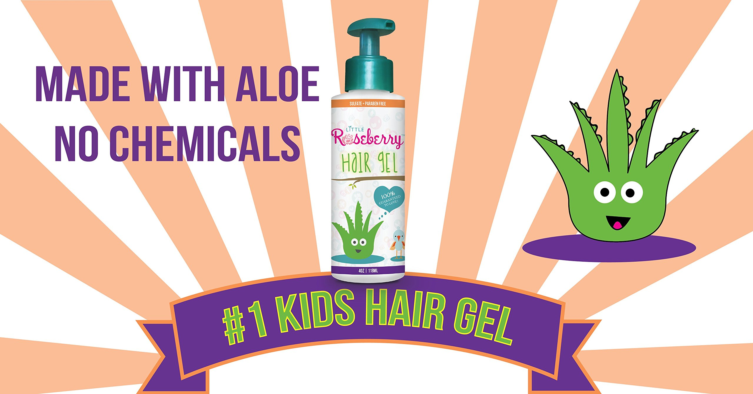 Hair Gel for Kids   Light Hold   Chemical Free   Made with Organic Aloe Vera and Vitamins   Safe on Babies, Toddlers, Men and Women   Always Paraben, Sulfate & Fragrance Free   Made in USA (1 Unit) by Little Roseberry (Image #3)