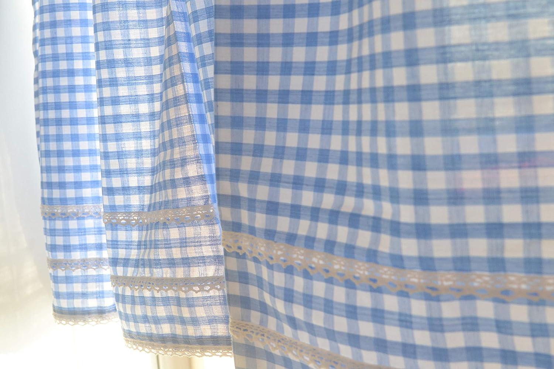 DOKOT Cortina de la Cocina de la Cortina de la Cocina a Cuadros del Estilo del pa/ís Cortina del caf/é Cortinas de la Sol Cortina del Comedor 30x150cm, Azul