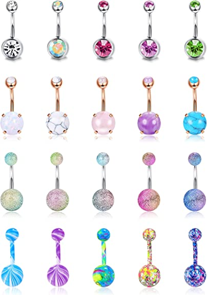20 Pcs 14G Multicolor Body Jewelry Replacement Beads Belly Tongue Ring Screw