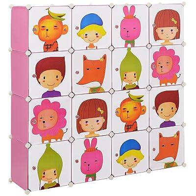 [Neu.haus] Estantería infantil DIY con 16 compartimentos de motivos rosa, transparente (145x145cm) estantería ensamblable de plástico: Juguetes y juegos
