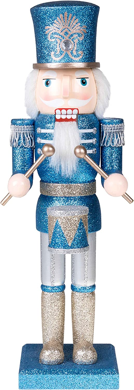 "Clever Creations Traditional Soldier Drummer Nutcracker Blue and Silver Glitter | Perfect Addition to Any Collection | Festive Holiday Decor | 100% Wood | 14"" Tall"