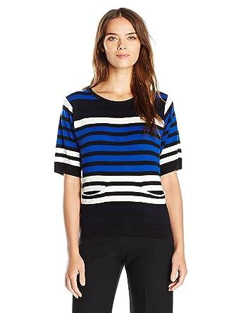 0330fae53eb Joan Vass Women s Multi Color Stripe Sweater at Amazon Women s ...