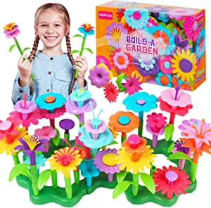 BEMITON Girls Toys for 3 4 5 6 Years Old, Flower Garden Building Set and Best Birthday Gift for Toddlers - Educational Activities for Kids Age 3-6