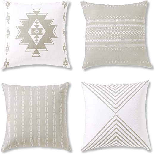 Amazon Com Boho Throw Pillows Or Decorative Cushion Covers For Couch Sofa Bedroom Bohemian Set Of 4 18x18 Modern Geometric Pillow Case For Home Decor Or Farmhouse 100 Cotton Reef Set Grey Home