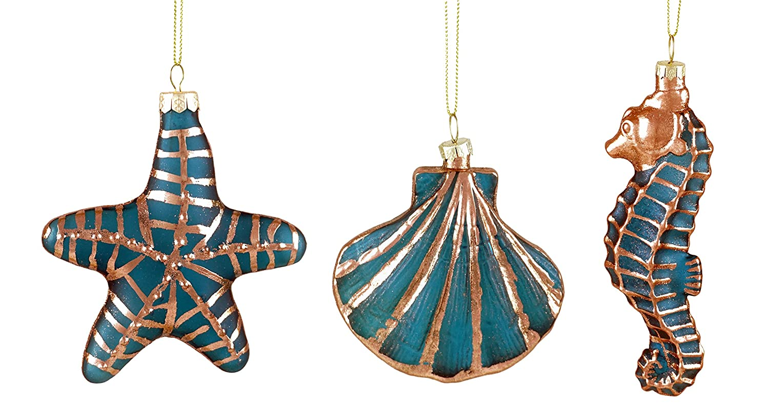 Set of 3 Party Explosions Waterside Seahorse Seashell /& Starfish Hanging Ornaments