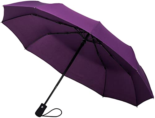 Crown Coast Eggplant Purple Travel Umbrella - 60 MPH Windproof Lightweight for Men Women and Kids