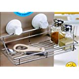 Home Reside Stainless Steel Suction Bathroom / Kitchen Rack Shelf Storage Soap Holder Soap Dish With Smooth Surface Adapter Plate.