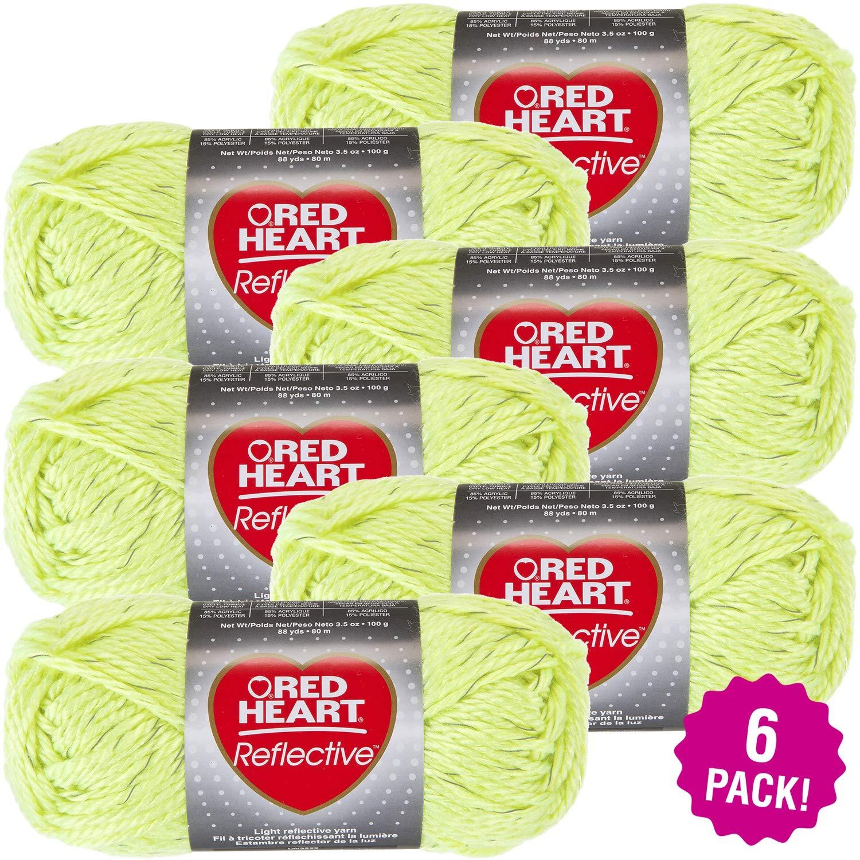 Red Heart 99498 Reflective Yarn-6/Pk-Neon, 6/Pk, Neon Yellow 6 Pack