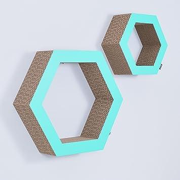 Gsmarkt | Wellpappe Hänge 2 Stk. Regal Hexagon Mint Außenmaße  38x44x11/25x29x11 Cm (
