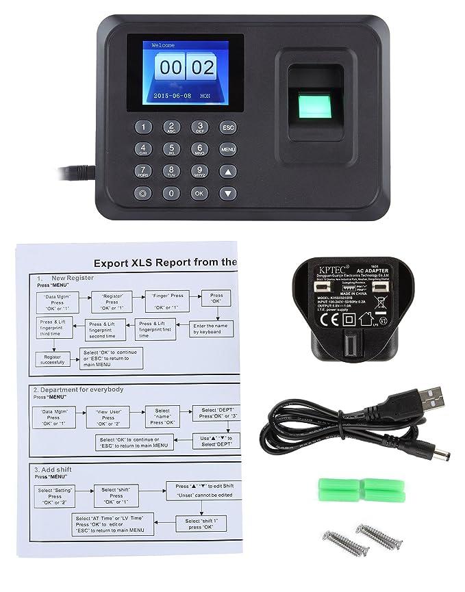 Máquina de fichar con huella dactilar, pantalla TFT 2.4 pulgadas, graba la hora, la huella dactilar biométrica del empleado, reloj escáner para empresa: ...