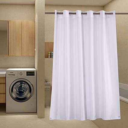 Avershine Hookless Shower Curtain Polyester Fabric Mildew Resistant Anti Bacterial Non Toxic