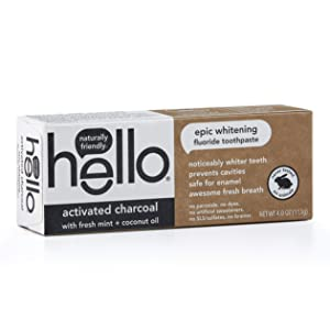 Hello Oral Care Activated Charcoal Fluoride Whitening Toothpaste, Vegan & SLS Free, 4 Ounce (Pack of 1)