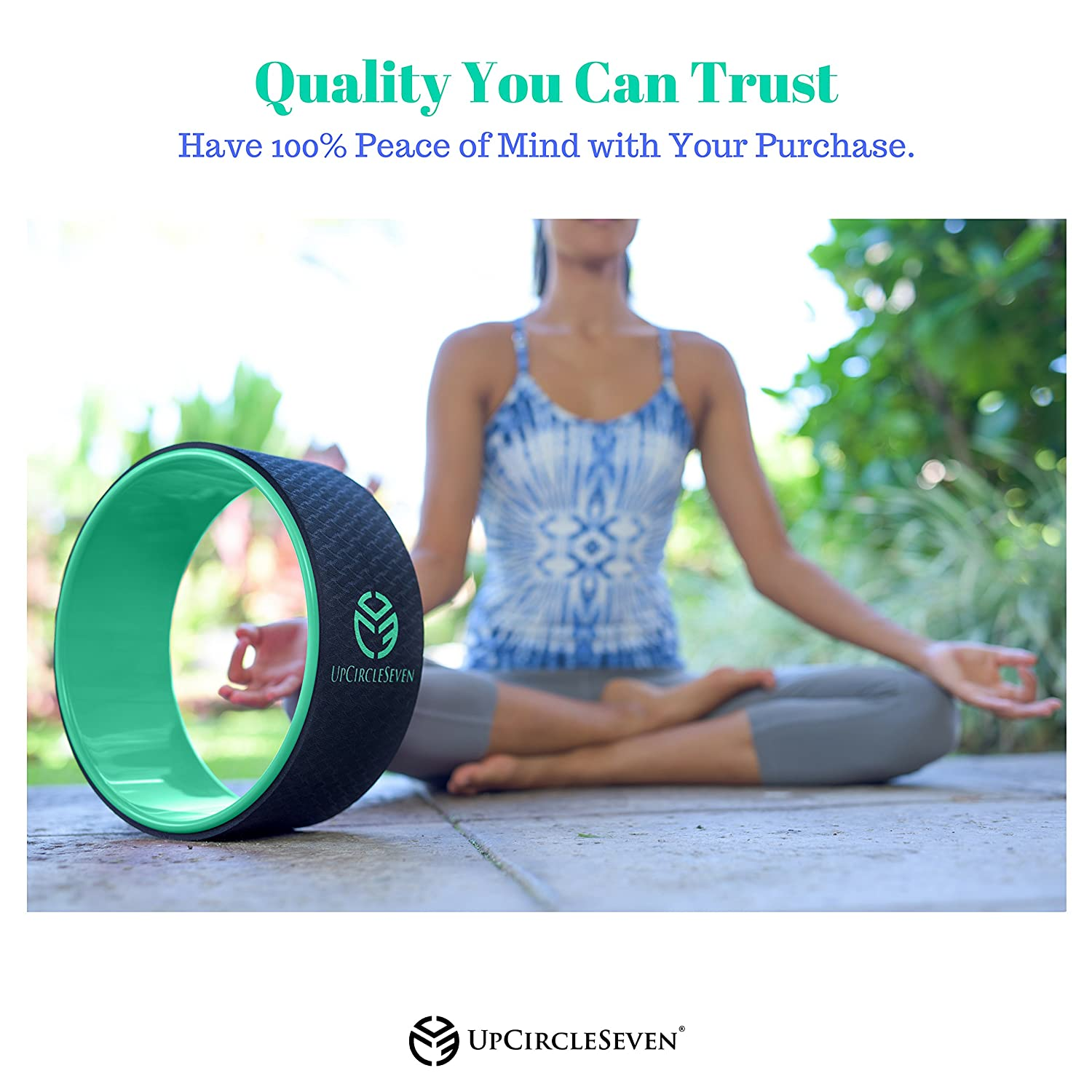 UpCircleSeven Yoga Wheel - Perfect Accessory for Stretching and Improving Backbends Pro Series Strongest /& Most Comfortable Dharma Yoga Prop Wheel 12 x 5 Inch Basic Perfect Platform for Stretching and Improving Backbends Wood
