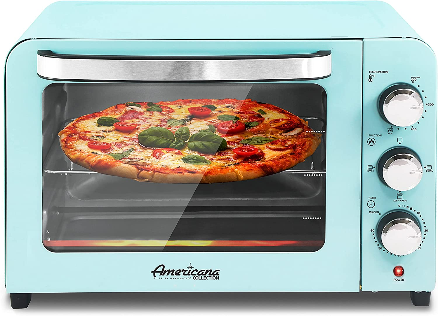 """Elite Gourmet Americana ETO2126BL Fits 12"""" Pizza, Vintage Diner 50's Retro Countertop Toaster oven Bake, Broil, Toast, Temperature Control & Adjustable 60-Minute Timer, Glass Door Printed Wrong"""