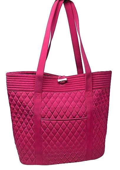 054c78cc60d6 Amazon.com  Vera Bradley Women s Solid Color Vera Tote Bag (Fuchsia ...