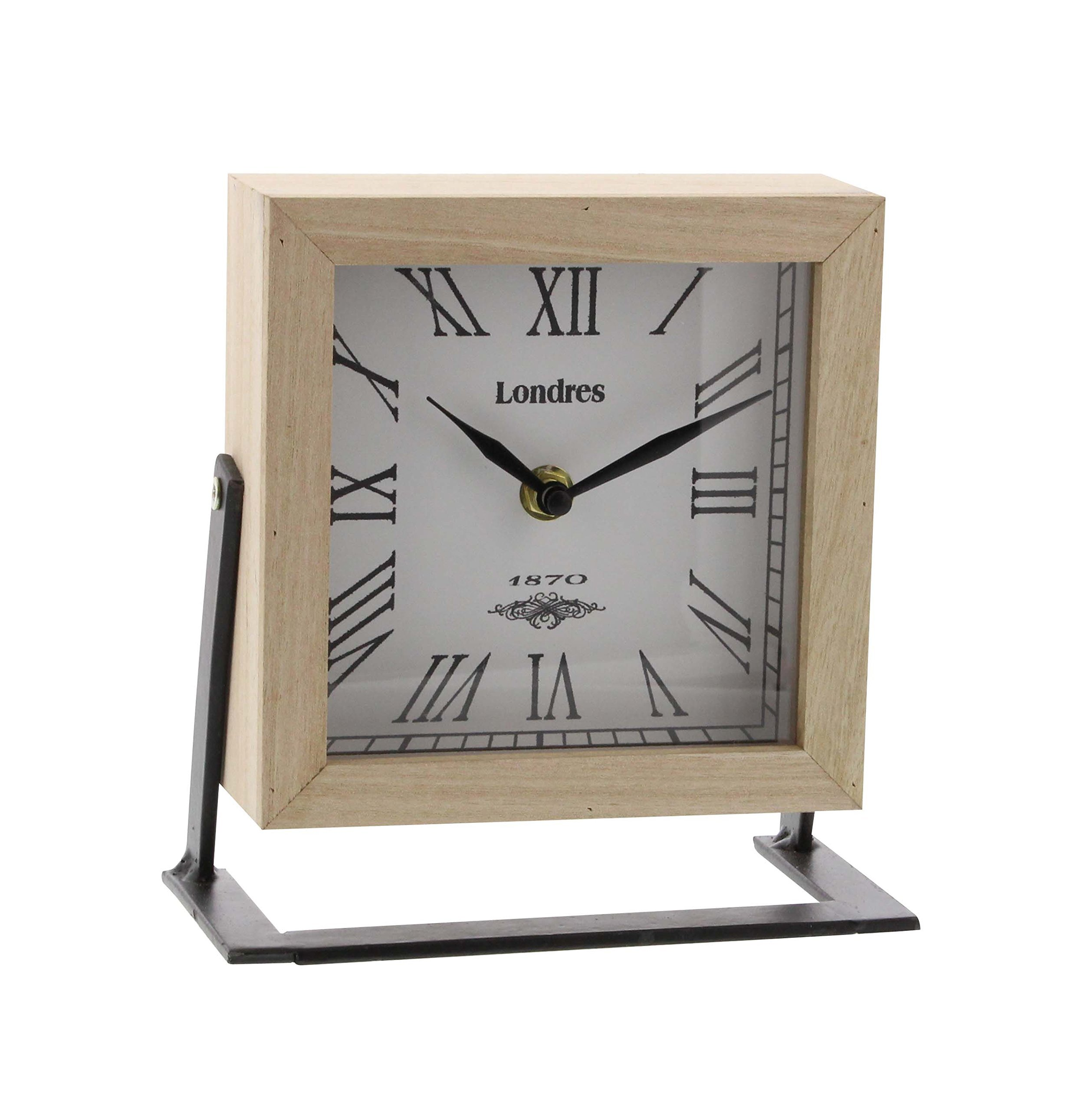 Deco 79 85254 Iron and Wood Square Table Clock, White/Lightbrown/Black/Gray - Dimensions: 7X3X7 Dimensions 2: CLOCK FACE 4X4 Dimensions 3: BASE 7X3 - clocks, bedroom-decor, bedroom - 81F9kcMxMwL -
