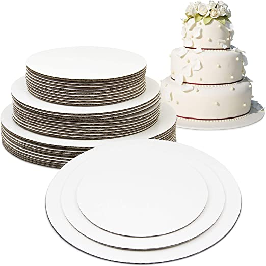 6 Cake Board Rounds 8 and 10-Inch Circle Cardboard Base Set of 18 Perfect for Cake Decorating Grease Proof 6 of Each Size