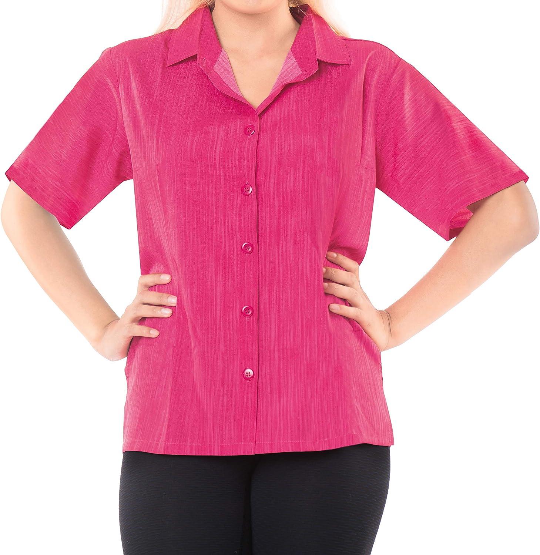 LA LEELA botón de la Blusa de la Playa de Las Mujeres Abajo Informal Hawaiano Camisa Rosa