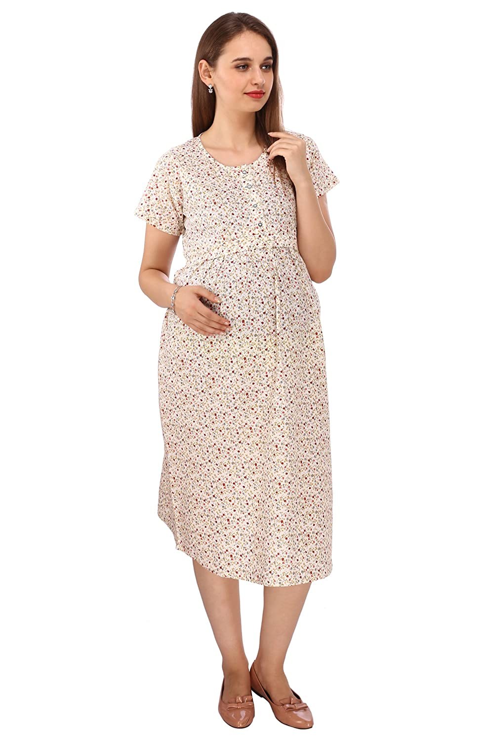 55fd7272fe310 Vixenwrap Daisy White Printed Maternity Dress: Amazon.in: Clothing &  Accessories