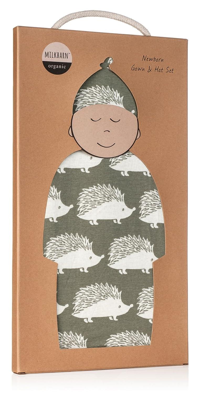 Amazon.com: MilkBarn Organic Cotton Gown & Hat Set - Grey Hedgehog ...