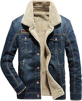 メンズ厚手のデニムジャケット シェルパライニング カジュアルなラペルウィンドブレーカーキルティングジャケット アウトドアレジャーレトロ