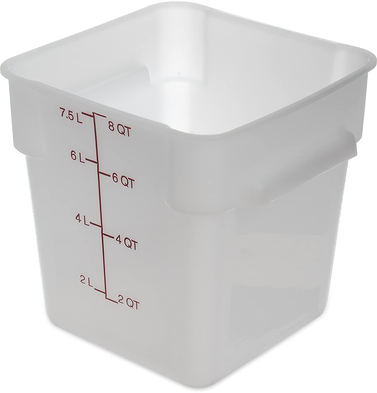 Carlisle 1073302 StorPlus 8 quart Square Food Storage Box, BPA Free, 8.75 Length x 8.75 Width x 9 Height, White (Pack of 6)