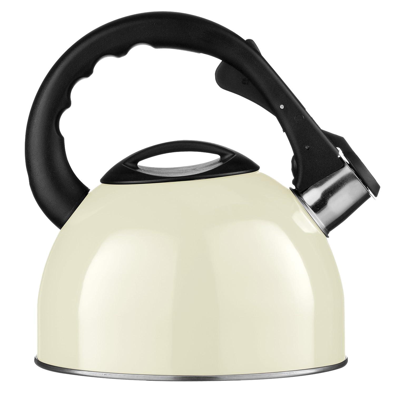 Premier Housewares 0505120 Bollitore a Fischio, in Acciaio Inox, 2.5 lt, Beige