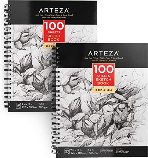 "Arteza 9X12"" Sketch Book, Pack of 2, 200 Sheets (68 lb/100gsm), Spiral Bound Artist Sketch Pad, 100 Sheets Each, Durable Acid Free Drawing Paper, Ideal for Kids & Adults, Bright White"