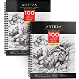 ARTEZA 9X12 Sketch Book, Pack of 2, 200 Sheets (68 lb/100gsm), Spiral Bound Artist Sketch Pad, 100 Sheets Each, Durable Acid