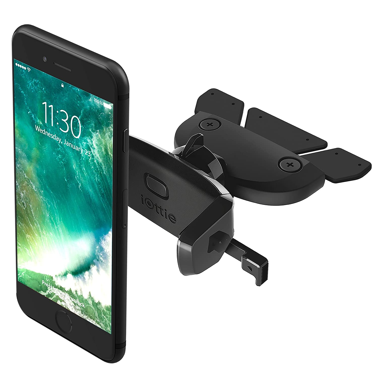 iOttie Easy One Touch Mini CD Slot Car Mount Holder Cradle for iPhone X 8/8 Plus 7 7 Plus 6s Plus 6s 6 SE Samsung Galaxy S8 Plus S8 Edge S7 S6 Note 8 5 Nexus 6